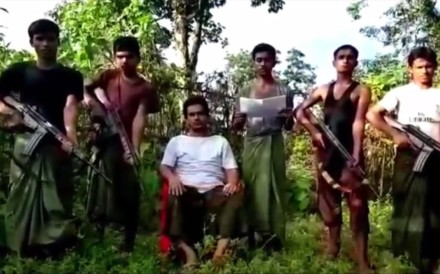 File photo of members of Arakan Rohingya Salvation Army, a Rohingya Muslim militant group in Myanmar's Rakhine state that denies it is a terrorist organisation. Photo: YouTube
