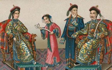 Manchu officials, chromolithograph, circa 1820.