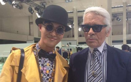 Chinese fashion influencer Peter Xu with German style legend Karl Lagerfeld in Paris.