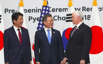 South Korea's President Moon Jae-in (centre) poses with United States Vice-President Mike Pence and Japan's Prime Minister Shinzo Abe. Photo: AFP