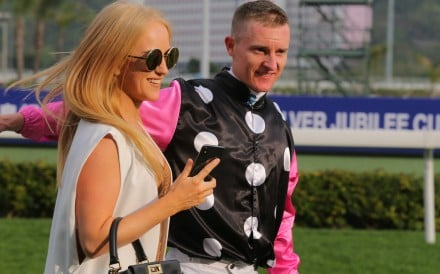 Zac Purton celebrates Beauty Generation's win with his wife Nicole. Photos: Kenneth Chan