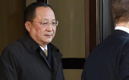North Korean Foreign Minister Ri Yong-ho leaves the Swedish government building Rosenbad in central Stockholm on Friday. Photo: EPA