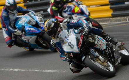 British driver Daniel Hegarty (front) of Topgun Honda Racing during last  year s Macau Motorcycle 62d775810508