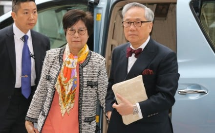 Former chief executive Donald Tsang and his wife Selina Tsang arrive at the court on Wednesday. Photo: Nora Tam