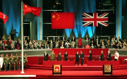 Jiang Zemin shakes hands with Charles, Prince of Wales at the handover ceremony for Hong Kong at midnight on June 30, 1997. Photo: Handout