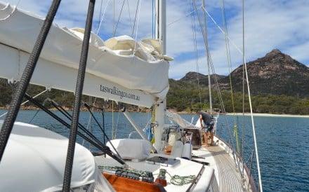 Lady Eugenie moored in Crockett's Bay, Tasmania. Photo: Cameron Wilson