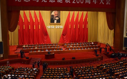 Xi Jinping marked the 200th anniversary of Marx's birth with a speech in the Great Hall of the People in Beijing. Photo: AFP