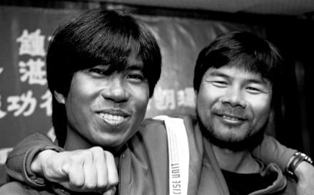 Mountaineers Cham Yick-kai (left) and Chung Kin-man after their return from Nepal on May 20, 1992. Picture: SCMP