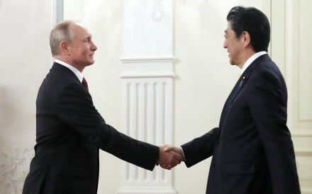 Russian President Vladimir Putin urged patience in efforts to resolve a territorial dispute with Japan that's lasted since the second world war – a setback for Prime Minister Shinzo Abe who's made striking a deal a priority. Photo: EPA