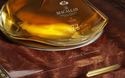 The Macallan 72 Years Old in Lalique limited-edition whisky will cost US$60,000 per bottle when it goes on sale in August.