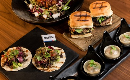 Korean delights, including tacos, bulgogi sliders and steamed dumplings, served at JINJUU, in Lan Kwai Fong Central – all with the Impossible plant-based meat alternative.