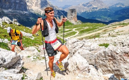 Johann Peter had a shandy as he passed a bar on the 120km Lavaredo and has not looked back for his trail nutrition. Photo: Lavaredo