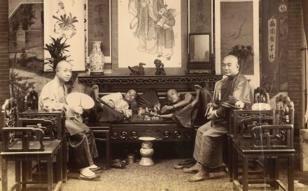 Smoking opium with water pipes (circa 1880). Photo: courtesy of Wattis Fine Art