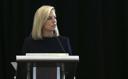US Department of Homeland Security Secretary Kirstjen Nielsen addresses a convention of state secretaries of state. Photo: AP