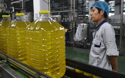 A soybean oil production line at the Hopefull Grain and Oil Group factory in Sanhe, in China's northern Hebei province on July 19. The company is currently using soybeans imported from Brazil, after recently changing from US crops. Photo: AFP