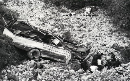 "Wreckage of the bus that killed 17 when it ""somersaulted 300 ft down a cliff"" on Hong Kong's Lantau Island. Picture: SCMP"