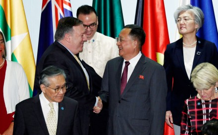US Secretary of State Mike Pompeo shaking hands with North Korea's Foreign Minister Ri Yong-ho at the Asean Regional Forum in Singapore on August 4. Photo: Reuters