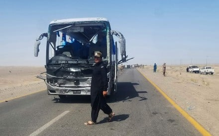 A suicide bomber struck a bus carrying Chinese engineers in the Baluchistan province on Saturday, wounding three of them as well as three paramilitary guards. Photo: AFP