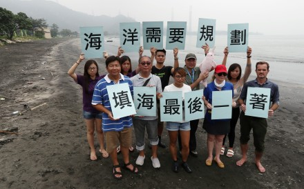 Lau Wai-ping (front left) with campaigners against reclamation at Lung Kwu Tan. Photo: Nora Tam