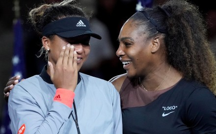 Naomi Osaka of Japan (left) cries as Serena Williams of the USA comforts her during the trophy ceremony of the 2018 US Open. Photo: USA Today