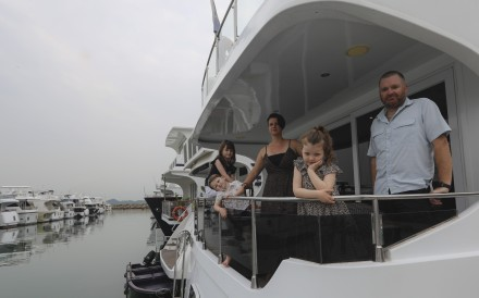Casey Kiihfuss with her husband and children (from left) Addison, Reed and Kenzie are scrambling for another place to berth their houseboat. Photo: Sam Tsang