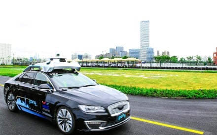An autonomous car refitted by Pony.ai drives itself during the World Artificial Intelligence Conference being held this week in Shanghai. Photo: Handout