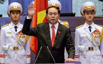 Tran Dai Quang being sworn in as president in 2016. Photo: AFP