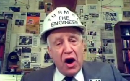 John Turmel, often clad in a white construction helmet emblazoned with the words 'Turmel the Engineer', has become a polarising fixture in Canadian elections. Photo: YouTube