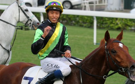 Vincent Ho returns to scale after winning with Ugly Warrior on Saturday. Photos: Kenneth Chan