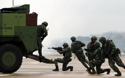 Taiwanese troops pictured during a drill earlier this month. Photo: EPA-EFE