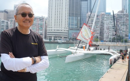 Karl Kwok, CEO of Wing On, and his boat the Beau Geste at the Royal Hong Kong Yacht Club. Photo: RHKYC