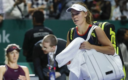 Caroline Wozniacki leaves after losing to Elina Svitolina at the WTA Finals in Singapore. Photo: AP
