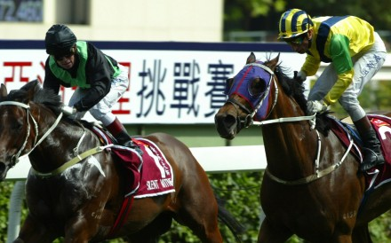 Bullish Luck (right) shocks fans – and jockey Felix Coetzee – by defeating Silent Witness in 2005. Photo: Kenneth Chan