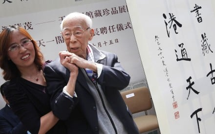 Professor Jao Tsung-i, pictured with Zhuang Lizhen of Ningbo's Tian Yi Ge Museum, continued his studies in Hong Kong after fleeing mainland China. Photo: David Wong