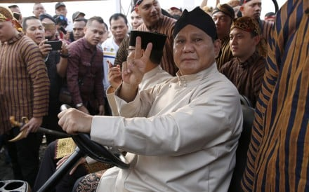 "Indonesian presidential candidate Prabowo Subianto has pledged to assemble ""a team of the best and brightest sons and daughters of Indonesia, who have high integrity and will not be corrupt"". Photo: EPA"