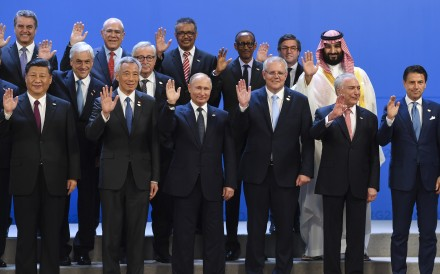 Part of the 'family photo' featuring world leaders including Saudi Arabia's Mohammed bin Salman at the G20 summit in Buenos Aires, Argentina, on November 30, 2018. Photo: EPA