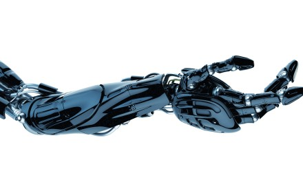 Future technology in black prosthetic hand