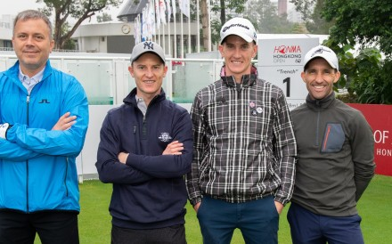 Caspar Fownes (left), Zac Purton, Chad Schofield and Neil Callan. Photo: Jayne Russell