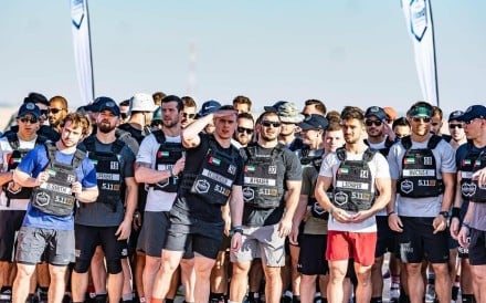 Athletes line up for the start of the men's desert run. Photos: Dubai CrossFit Championship