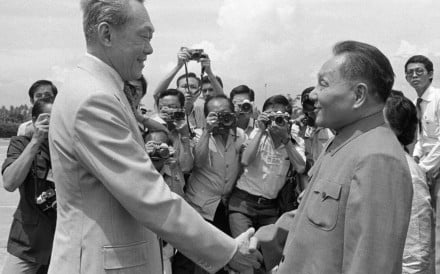 "Lee Kuan Yew (left) welcomes then Chinese vice-premier Deng Xiaoping to Singapore in 1978. Lee was recognised for leading Singapore to ""deeply engage"" in China's reform and opening. Photo: Xinhua"