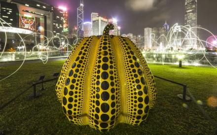 Pumpkin: big, by artist Yayoi Kusama, exhibited at the Harbour Arts Sculpture Park at the Central Promenade in Hong Kong. Photo: Sam Tsang