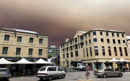 Smoke from a bush fire burning in southwest Tasmania. Photo: Reuters