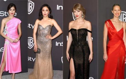 Celebrities were resplendent in their post-awards outfits at the Golden Globes after-parties. From left, actresses Gemma Chan and Constance Wu, singer Taylor Swift, and Czech model Karolína Kurková.