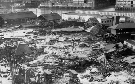 The ruins of tanks containing millions of litres of molasses in Boston's North End neighbourhood. Photo: AP