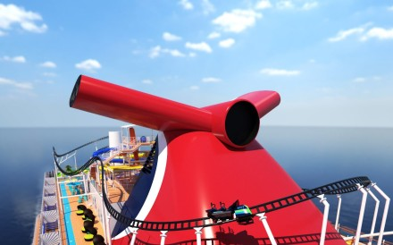Carnival Cruise Line's ship Mardi Gras – complete with a 780-foot long roller-coaster ride, suspended nearly 200 feet above the sea – will set sail in 2020. Illustration: Carnival Cruise Line