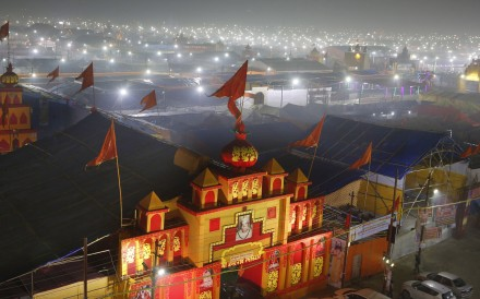 A thick layer of dust over the tent city set up for the Kumbh Festival in Prayagraj. Photo: AP