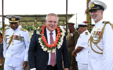 Australian Prime Minister Scott Morrison during a visit to the Blackrock Camp Project in Nadi, Fiji. Photo: EPA