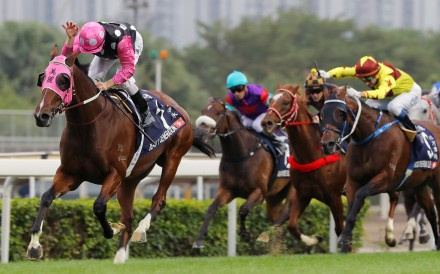 Zac Purton guides Beauty Generation to victory in the Hong Kong Mile. Photos: Kenneth Chan