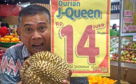 The 14 million rupiah J-Queen durian sold at Plaza Asia in Tasikmalaya over the weekend. Photo: Instagram