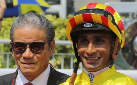 Karis Teetan with trainer Tony Cruz after Circuit Number Two's win earlier this season. Photos: Kenneth Chan